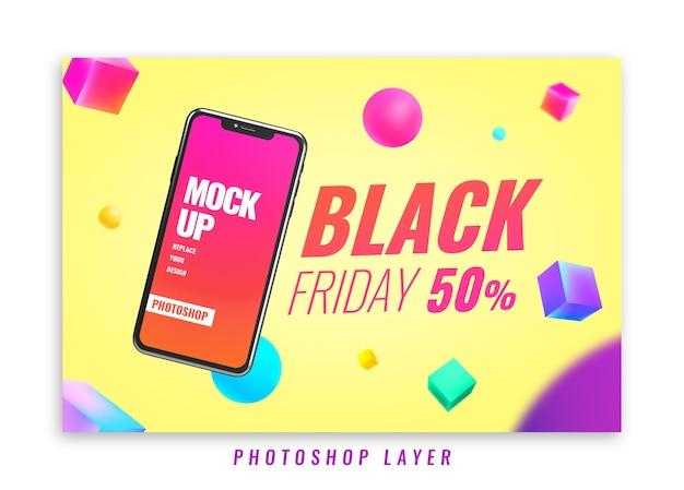 Promocja sprzedaży banerów makieta telefonu w czarny piątek