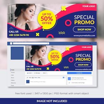 Promocja sprzedaży modnej na okładkę na facebooku