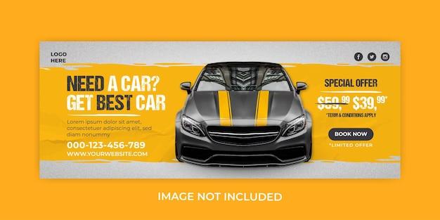Promocja sprzedaży samochodów szablon okładki banera na facebooku