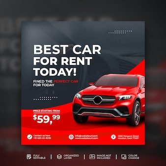 Promocja sprzedaży samochodów w mediach społecznościowych szablon banera postu na instagramie w czerwonym tle premium psd