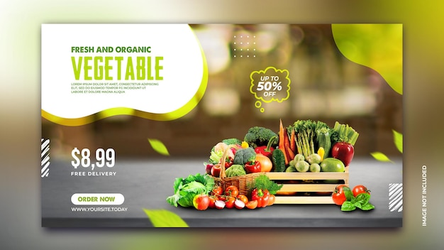 Promocja sprzedaży świeżych warzyw organicznych banner internetowy szablon postu w mediach społecznościowych psd