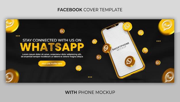 Promocja strony biznesowej z 3d render złota makieta telefonu na baner w mediach społecznościowych