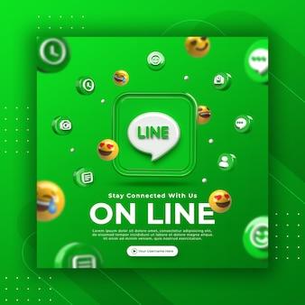 Promocja strony biznesowej z linią renderowania 3d dla szablonu postu na instagramie