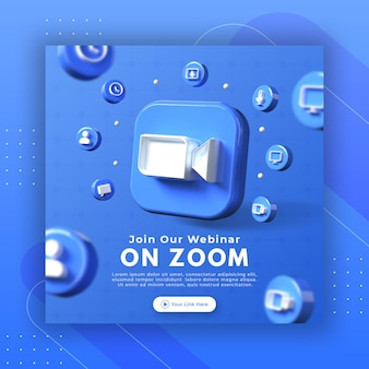 Promocja strony webinarowej z logo powiększenia renderowania 3d dla szablonu postu na instagramie