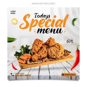 Promocja w mediach społecznościowych fast food i projektowanie postów na instagramie premium psd