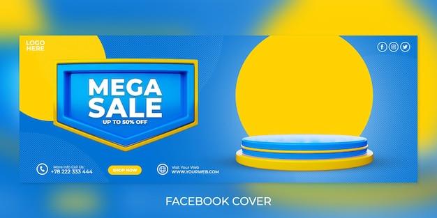 Promocja w mediach społecznościowych mega wyprzedaż i szablon banera na okładkę na facebook