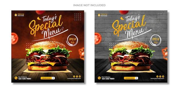 Promocja w mediach społecznościowych żywności i szablon projektu postu banerowego