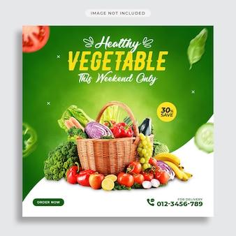 Promocja warzyw w mediach społecznościowych i szablon postów na instagramie