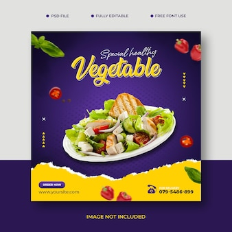 Promocja warzywnych przepisów kulinarnych projektowanie postów w mediach społecznościowych