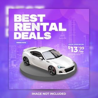 Promocja wynajmu samochodów w mediach społecznościowych i szablonie postów na instagramie premium psd