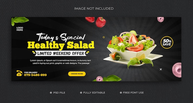 Promocja zdrowej żywności na okładkę na facebooku i szablon banera internetowego premium