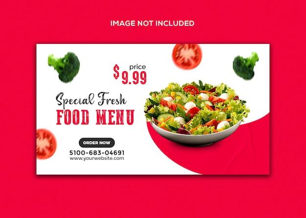 Promocja żywności w mediach społecznościowych i szablon banera internetowego na instagram