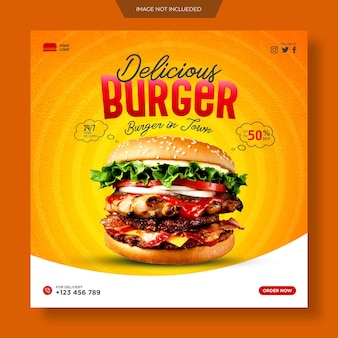 Promocja żywności w mediach społecznościowych i szablon baneru na instagram lub kwadratowy szablon projektu ulotki premium psd