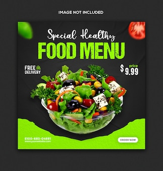 Promocja żywności w mediach społecznościowych i szablon postu na instagramie