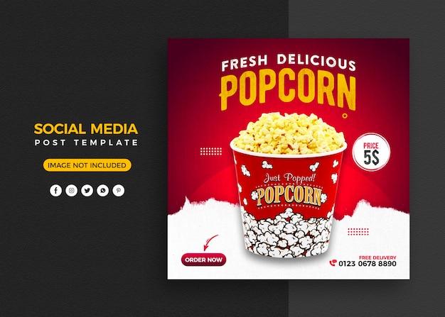 Promocja żywności w mediach społecznościowych i szablon projektu banera na instagramie