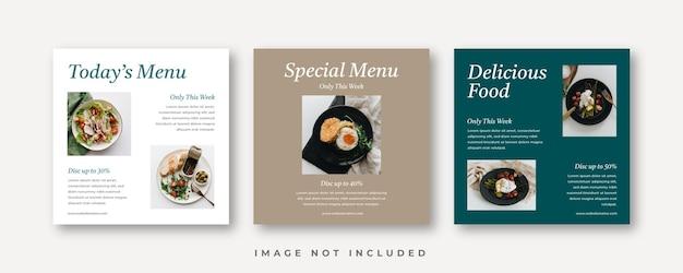 Promocja żywności w mediach społecznościowych i szablon projektu baneru na instagram