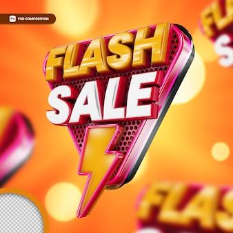 Promocyjne logo w renderowaniu 3d na białym tle sprzedaż flash 3d