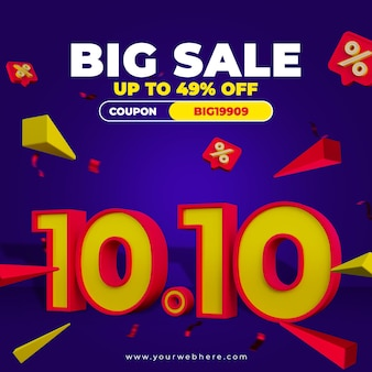 Promocyjny baner rabatowy 1010 szablon postu w mediach społecznościowych