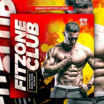 Promocyjny post w mediach społecznościowych i baner na siłownię i fitness