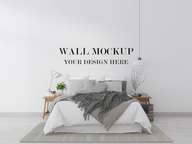 Prosta i wygodna makieta ściany sypialni renderowania 3d