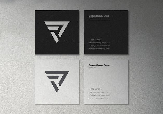 Prosta minimalistyczna kwadratowa wizytówka makieta