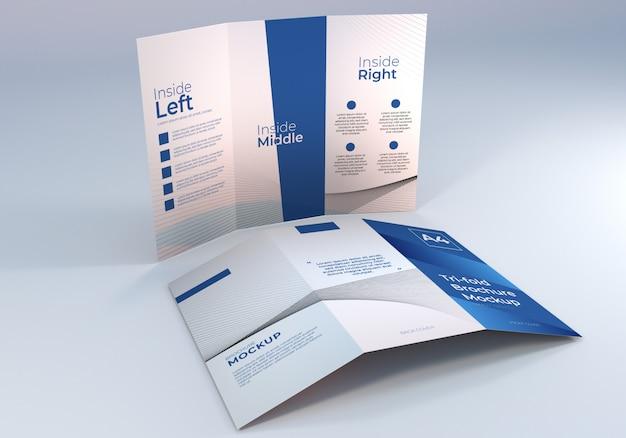 Prosta minimalistyczna makieta papieru składanego na trzy broszury a4 do prezentacji