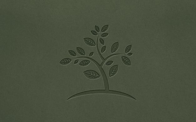 Prosta realistyczna makieta logo tłoczonego papieru