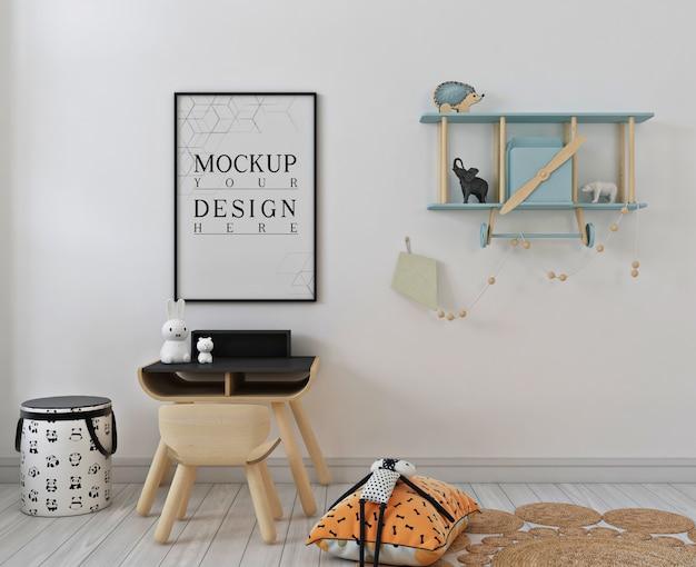 Prosta sypialnia dla dzieci z makietą ramki plakatowej