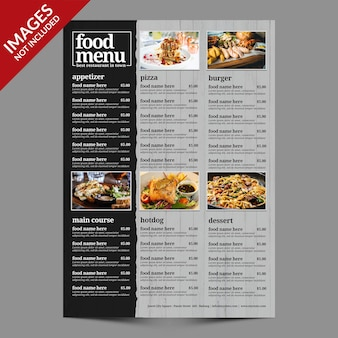 Proste menu żywności dla restauracji lub baru premium szablon