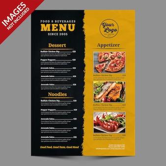 Proste menu żywności dla restauracji lub baru szablon premium