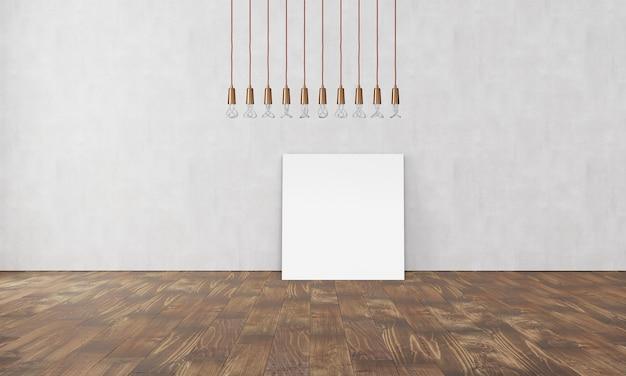 Proste nowoczesne wnętrze z lampką w kształcie pudełka i pustym plakatem