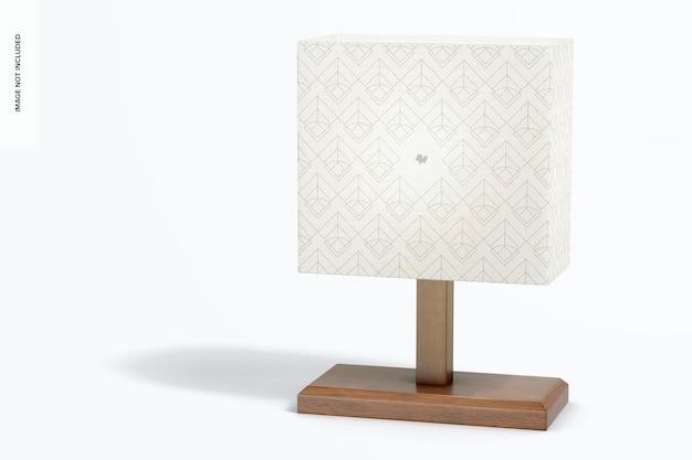 Prostokątna drewniana lampa stołowa makieta