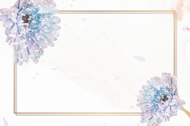 Prostokątna naturalna fioletowa makieta z kwiatami gerbera
