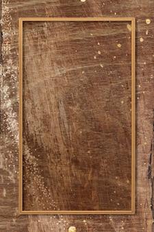 Prostokątna ramka na brązowym drewnianym tle tekstury