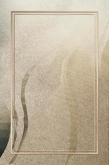 Prostokątna złota rama na ilustracji tle brokatu