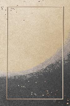 Prostokątna złota rama na złotej ilustracji tła brokatu