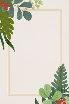 Prostokątna złota rama ozdobiona ilustracją liści