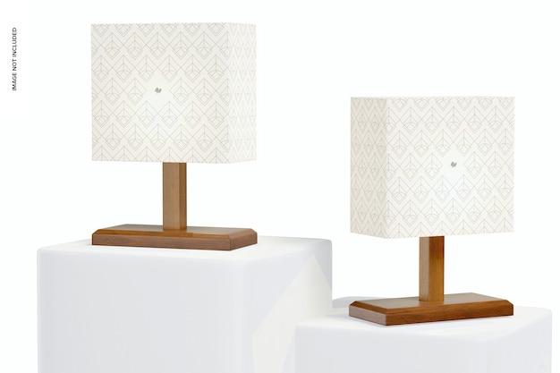 Prostokątne drewniane lampy stołowe makieta, perspektywa