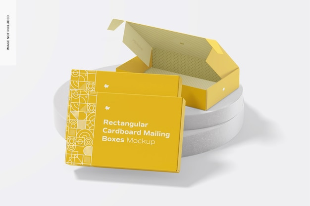 Prostokątne kartonowe pudełka pocztowe zestaw makieta