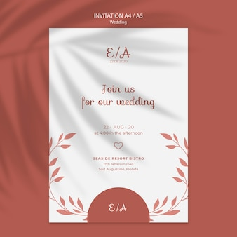 Prosty i elegancki szablon zaproszenia na ślub