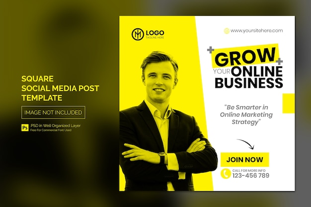 Prosty kwadratowy szablon postu lub banera w mediach społecznościowych dla koncepcji biznesowej online