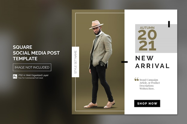 Prosty kwadratowy szablon postu lub banera w mediach społecznościowych do promocji nowego przybycia