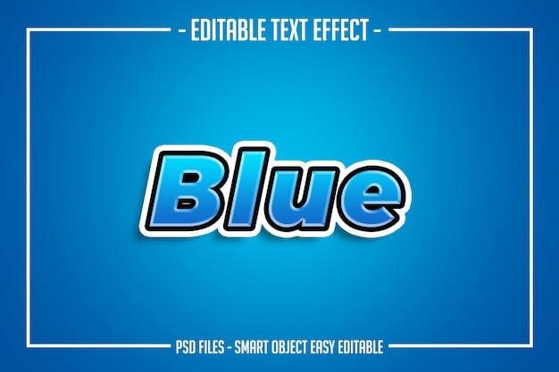 Prosty nowoczesny edytowalny efekt czcionki w stylu niebieskiego tekstu
