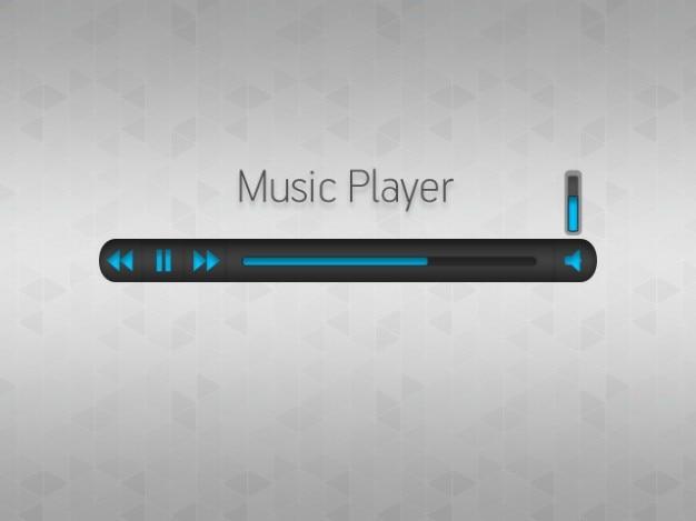Prosty odtwarzacz muzyczny z niebieskimi przyciskami