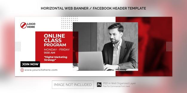 Prosty poziomy baner internetowy do promocji programu klasy online