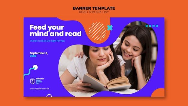 Przeczytaj projekt szablonu banner dzień książki
