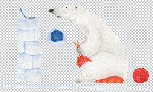 Przed laptopem dziergany miś polarny. ilustracja akwarela, elementy warstwowe
