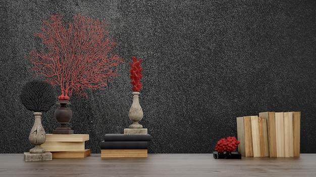 Przedmioty dekoracyjne, stare książki i wazony na czarnej ścianie, w stylu japońskim.