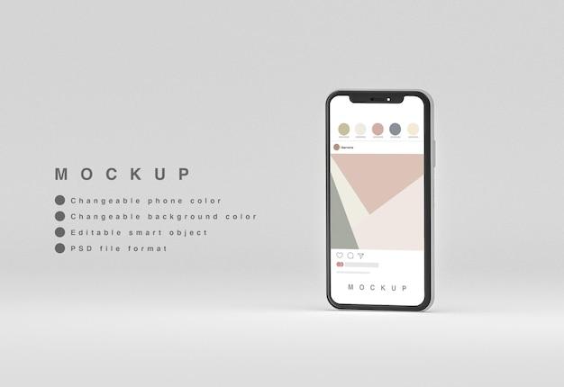 Przedni minimalny telefon 3d z makietą interfejsu rrss lewitujący z copyspace