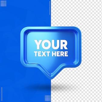 Przednie pole tekstowe ikony facebook na białym tle w renderowaniu 3d